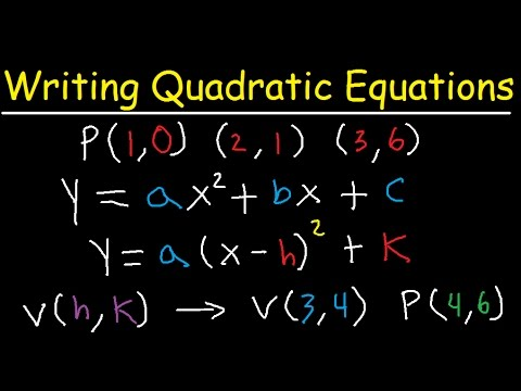 Writing Quadratic Equations Functions In Vertex Standard Form 3