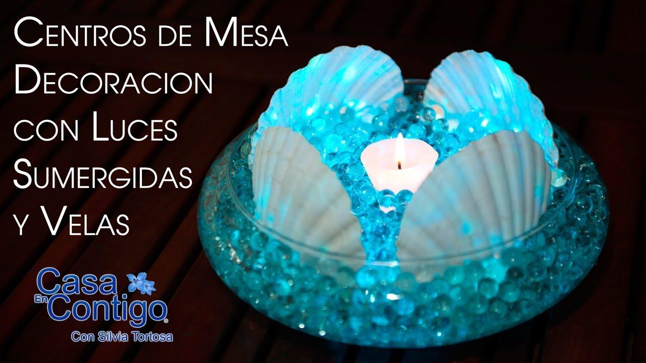 d564641fd Centros de Mesa Decoracion con Luces Sumergidas y Velas - YouTube