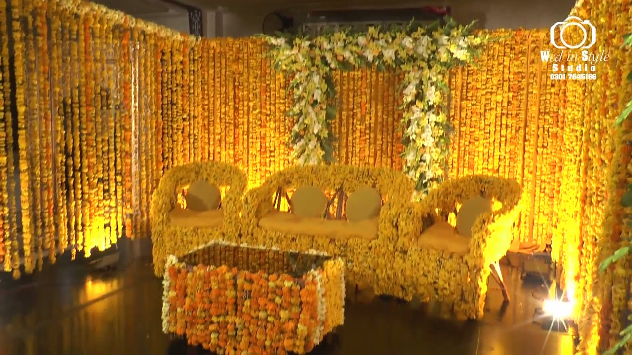 Mehndi And Mayon Decoration : Mehndi stage wed in style wedding planner & studio sadiq abad youtube