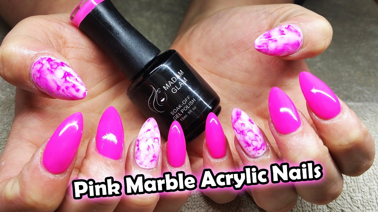 bright barbie pink | water colour nail | madam glam gel polish