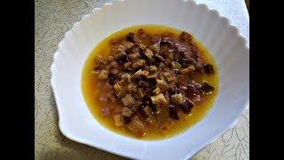 Гороховый суп с сухариками. Простой рецепт