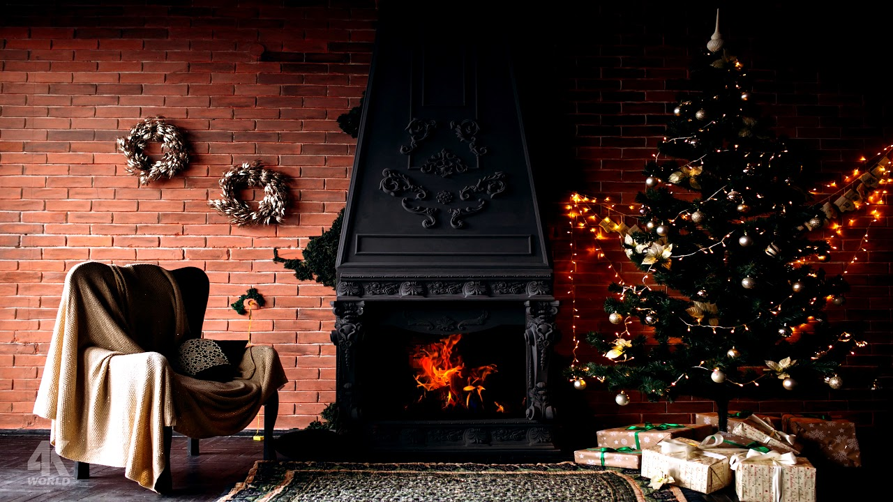 4K Relaxing Christmas Fireplace Scene - NEW YEAR 2020 Fireplace - Crackling fire