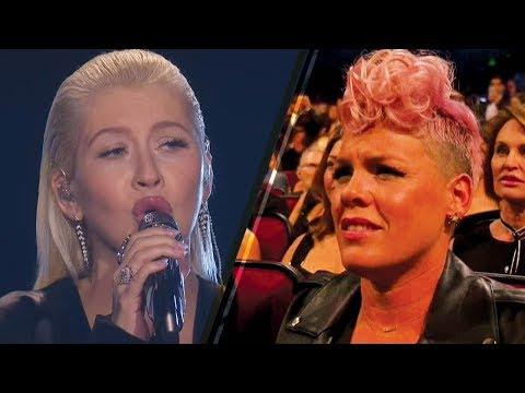 Christina Aguilera's Whitney Houston Tribute Makes Pink CRINGE!   2017 AMAs