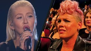 Christina Aguilera's Whitney Houston Tribute Makes Pink CRINGE! | 2017 AMAs