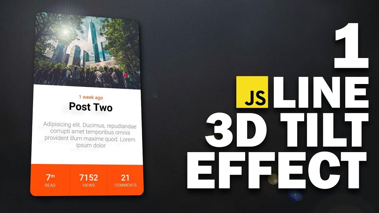 Create Tilt Effect with 1 JavaScript Line | Tilt.js Tutorial