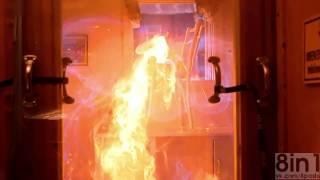 Взрыв газа на кухне в замедленной съёмке