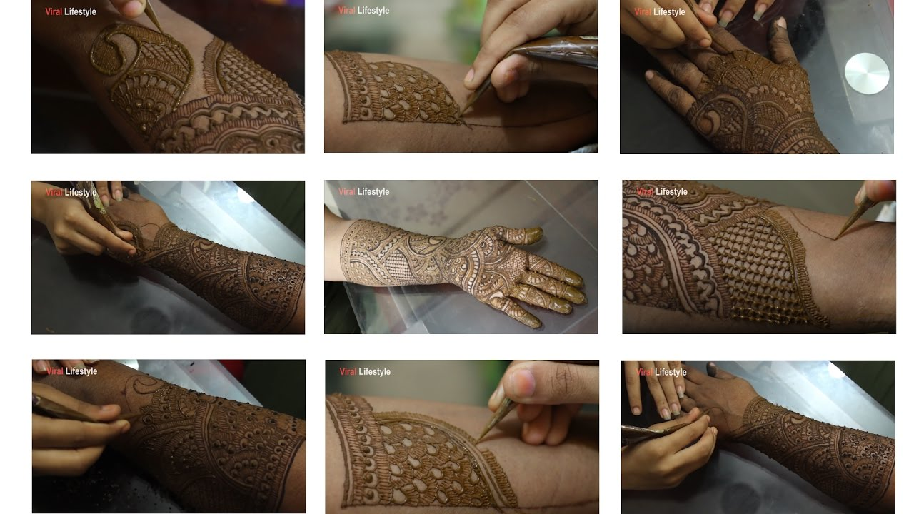 Mehndi Designs Learning Hands : Full hand mehndi design tutorial front and back step by