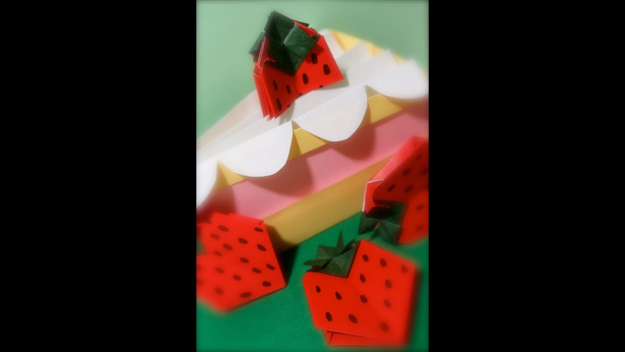 origami a slice of strawberry cake youtube