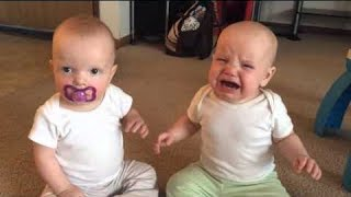 Funniest TWIN Baby Girls Fighting Over Pacifier