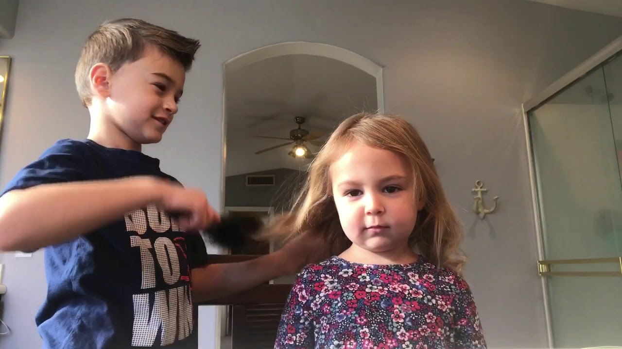 Big Brother Tries To Do Little Sisters Hair And Nails It Youtube