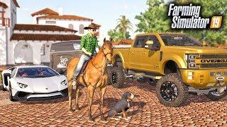 FS19- BILLIONAIRE COWBOY! BUYING MY FRIEND A $120,000 RANCHER TOW RIG & HORSE!