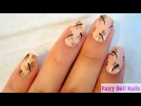 Dragonfly Nail Art - Dragonfly Nail Art - YouTube