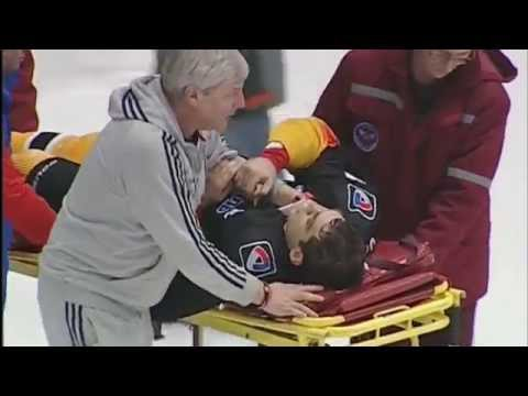 Nikolai Stasenko was seriously injured catching the puck with his face