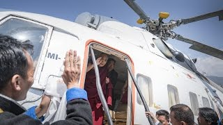 His Holiness the Dalai Lama departs from Tawang Helipad, April 11, 2017
