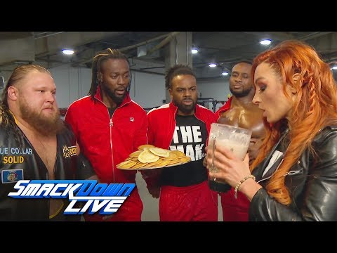 Becky Lynch downs Heavy Machinery\'s epic protein shake: SmackDown LIVE, Jan. 15, 2019