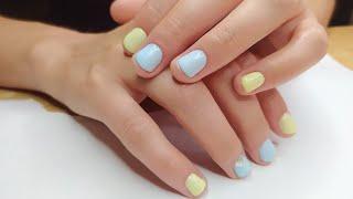 Маникюр на коротких ногтях Дизайн с двумя цветами гель лака Летний маникюр 2020