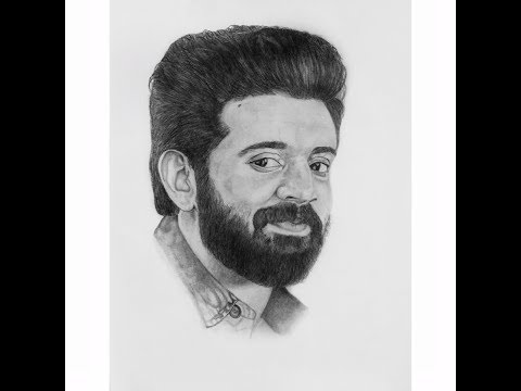 Nivin Pauly Pencil Drawing (Portrait Drawing)