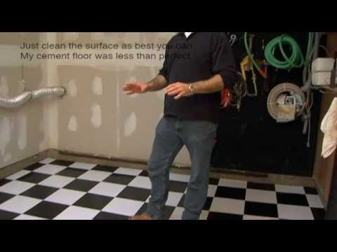 Installing Vinyl Floor Tile On Cement Garage Floor Basement Floor Youtube