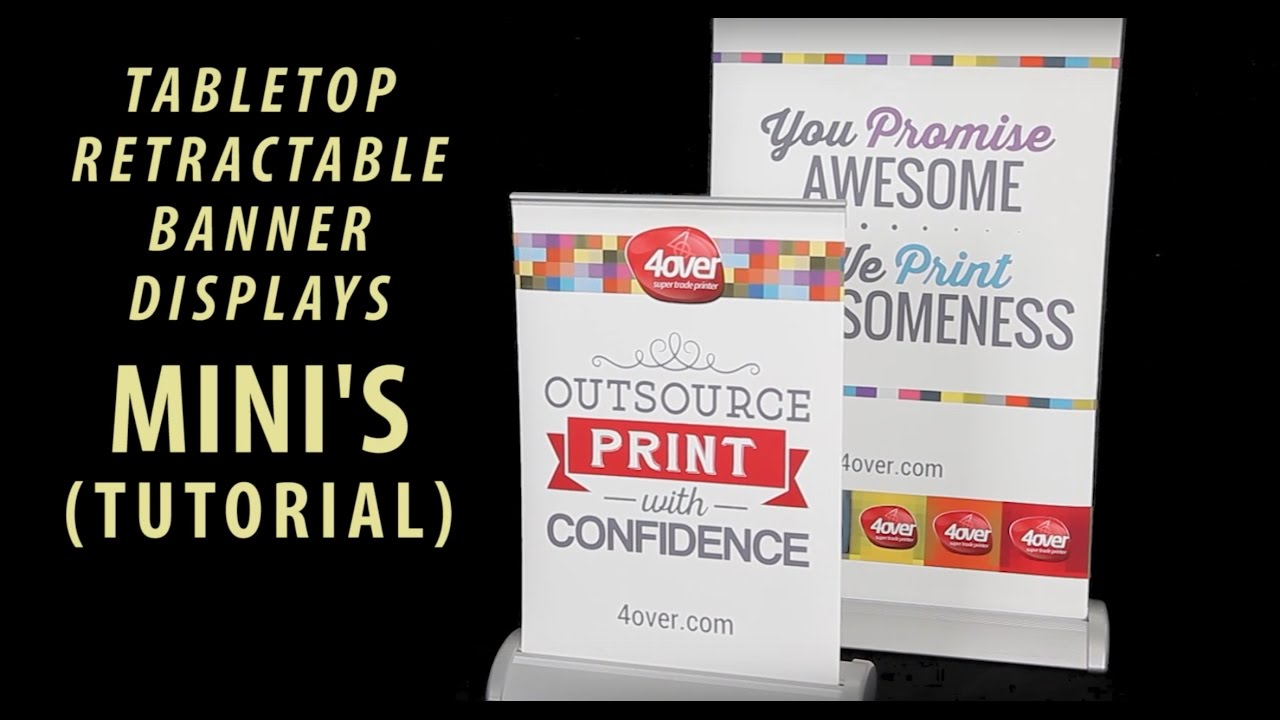 how to set up mini's tabletop retractable banner displays