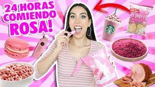 24 HORAS COMIENDO ROSA 💖RETO 😱 | Claudipia