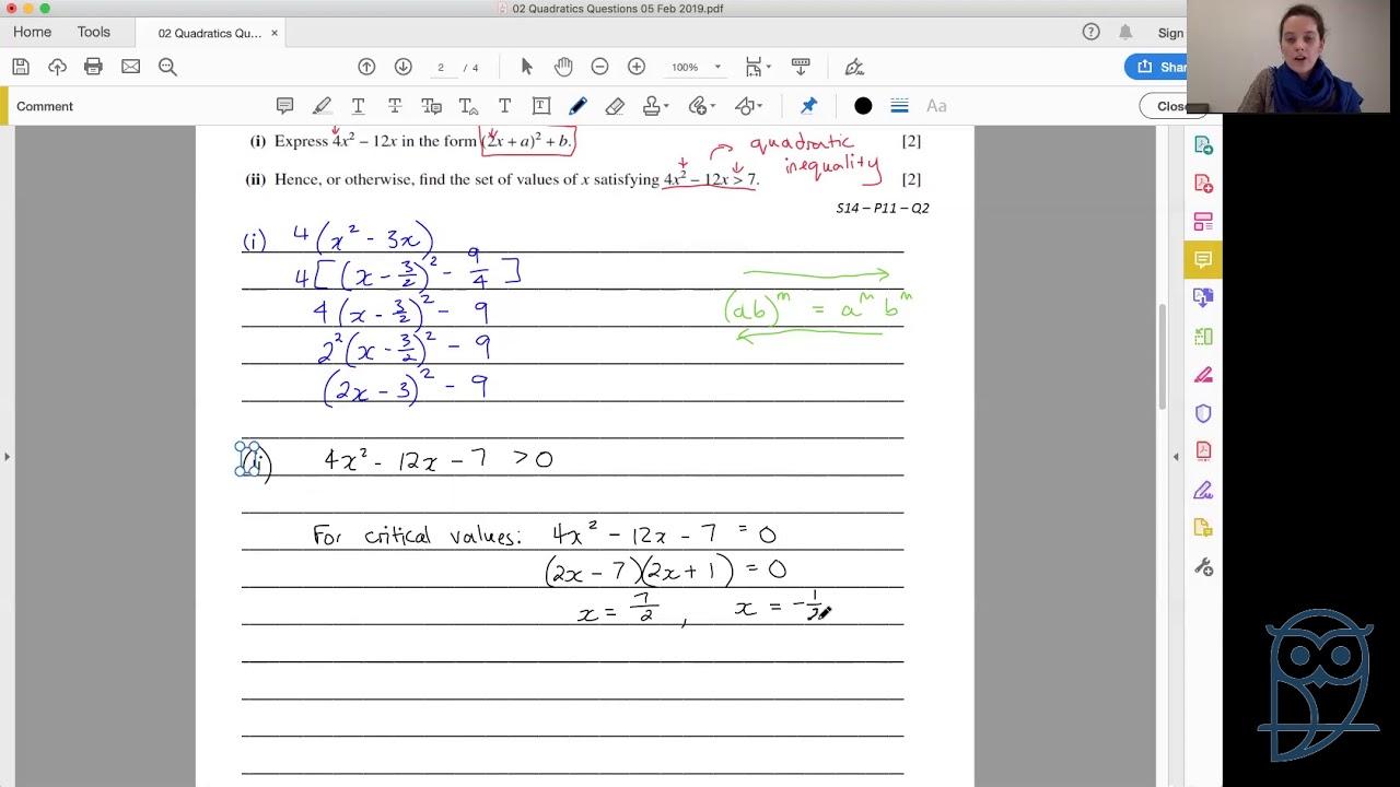 Live Lesson: AS Pure Mathematics P1 - Quadratics Past Paper Questions