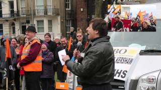 Roundup video of GMB Defend the NHS march and rally , Brighton, April 2013