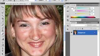 Как убрать блеск с кожи лица в Photoshop