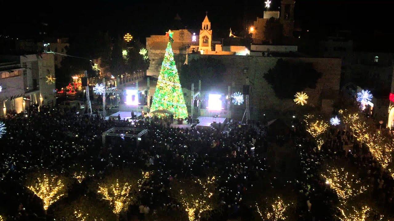 Lighting the Christmas Tree in Bethlehem 2015 - YouTube