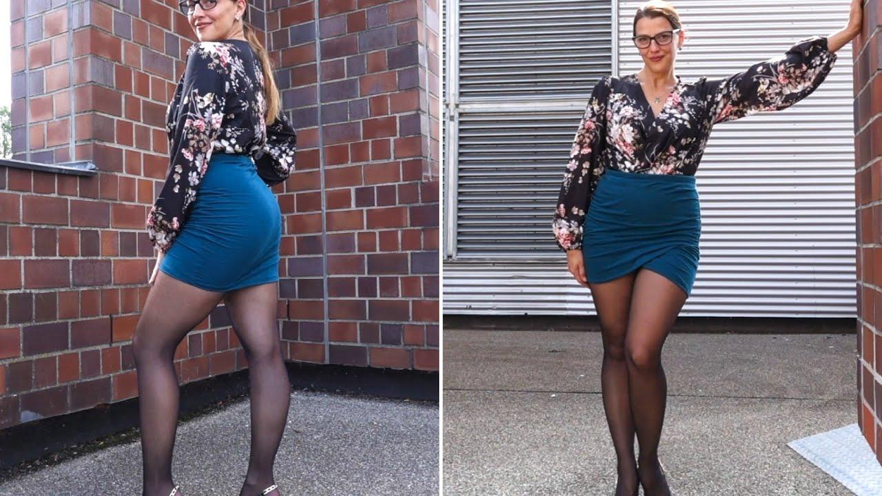 Tight Mini Skirt and Black Tights   Kats little world