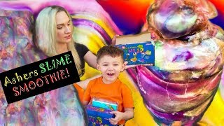 MIXING ALL MY SLIME! ASHER'S SLIME SMOOTHIE!