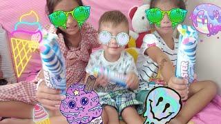 Çocuklar Algida Golf Dondurma Çeşitleri Yiyor Dondurmaları Meyveli ve çok Tatlı, çocuklar Eğleniyor