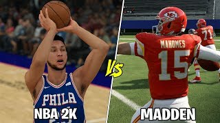 Can Ben Simmons Hit A Three Before Patrick Mahomes Throws A 99 Yard Touchdown? NBA 2K VS MADDEN