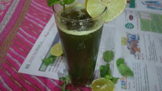 A Green Cool Party Drink - Mint Lemon Drink - Summer Cooler Drink !!!