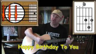 Happy Birthday To You - Acoustic Guitar Lesson - (easy)