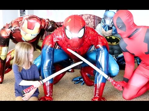 Spiderman Skywalker & Iron Man Skywalker & Batman Skywalker Vs Deadpool! Funny Superhero Battle!