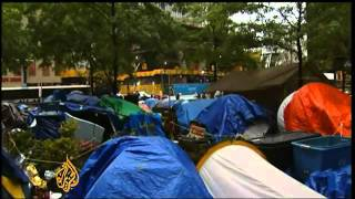New York:  protesters battle the cold -