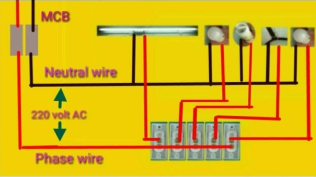 House Wiring Or Home Connection Diagram Youtube Two Way Switch With Indicator
