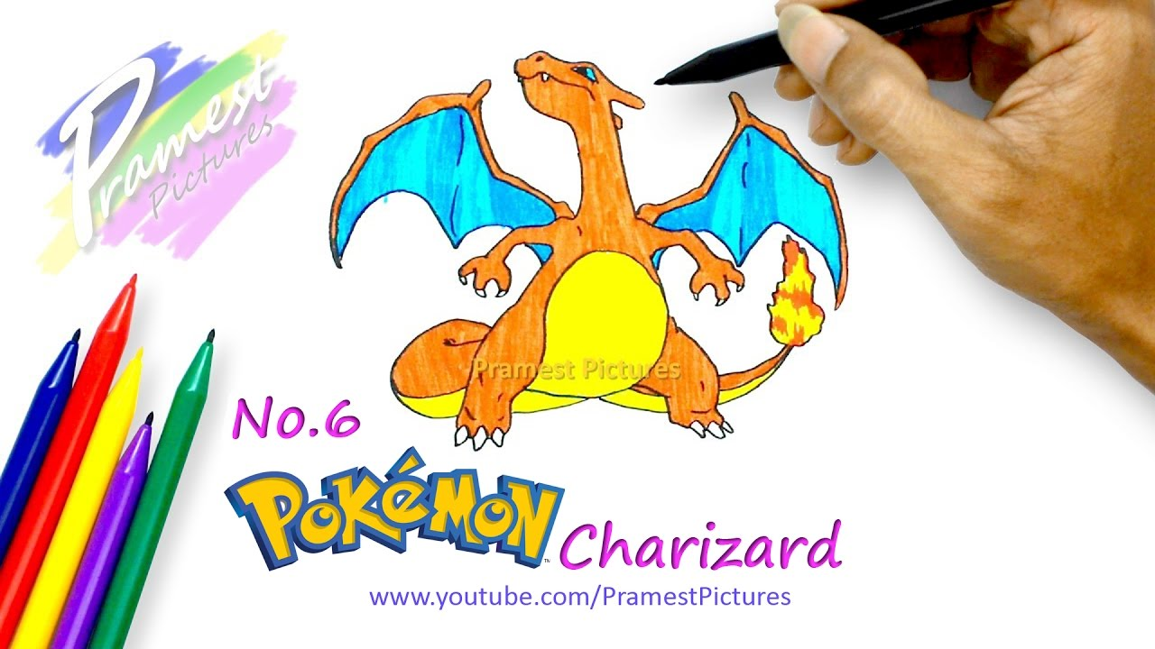 how to draw charizard pokemon coloring pages for kids youtube