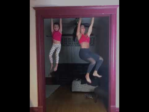 Monica Lowe  -  Mom and Daughter Do Synchronized Pull Ups on Doorway