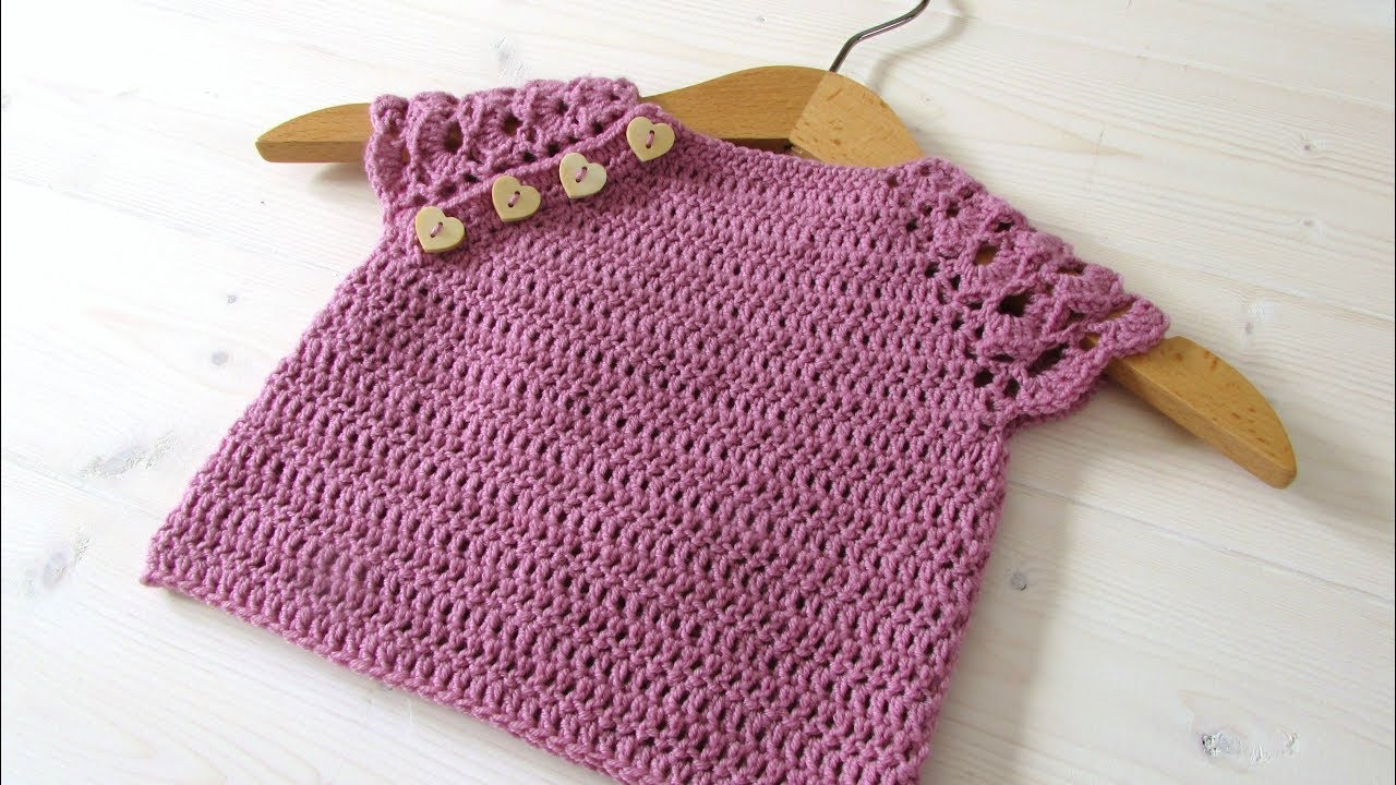 e3652b6a8 How to crochet a pretty lace sleeve baby top   sweater