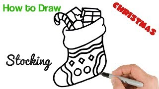 How to Draw Christmas Stocking Easy Holiday Drawings