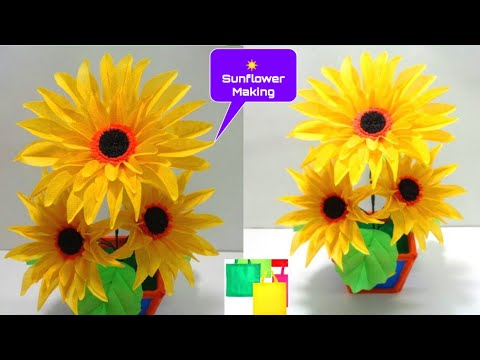 How to Make Sun flowers Using Old Shopping Bag - DIY Making Sunflowers of Shopping Bag