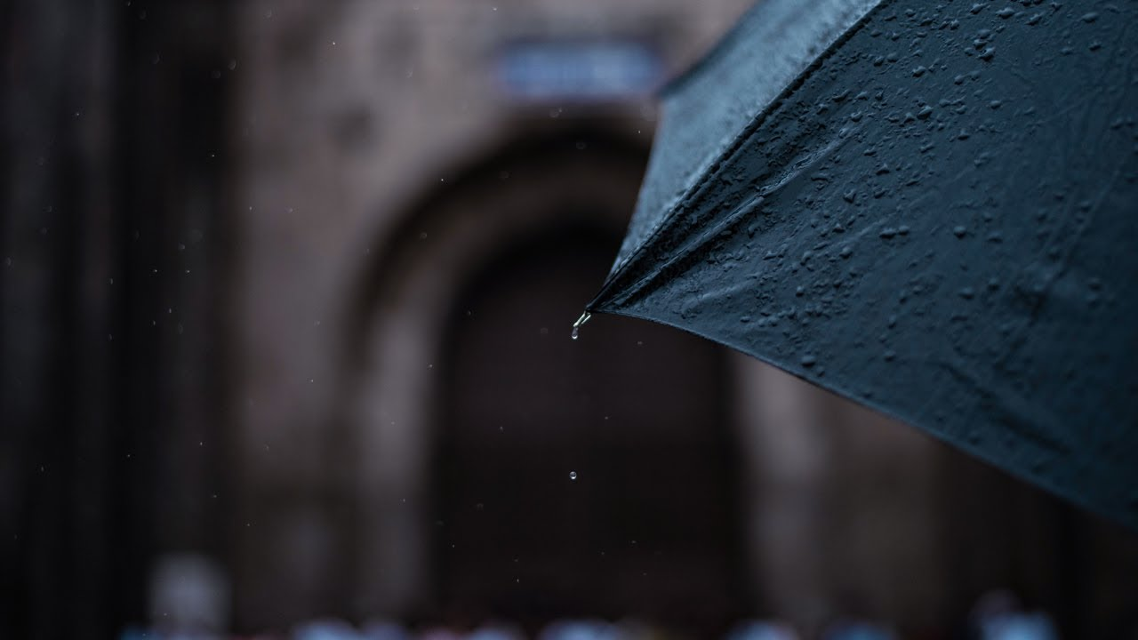 Light Rain on Umbrella and City Sounds for Sleep and Relaxation #267