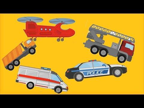 Мультики про машинки. Полицейская машина Скорая Помощь Пожарная Грузовик 4 машинки Гонки Мультфильмы