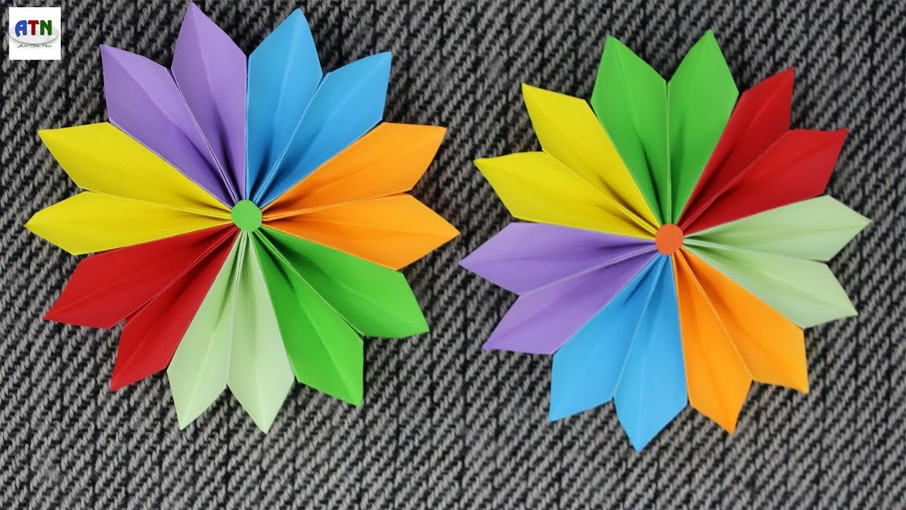 how to make flowers with color paper step by step