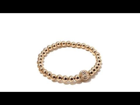 Sevilla Gold 14K Beaded Stretch Bracelet. http://bit.ly/2LaaMmy