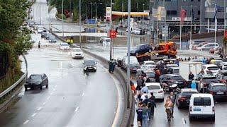 Regn Flood i Oslo - Traffic Jam 6 August 2016