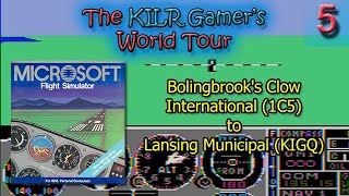 (DOS) Flight Simulator 2: Clow Intl (1C5) to Lansing Municipal (KIGQ) || World Tour