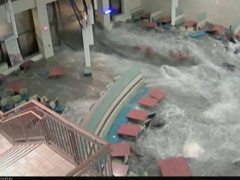Raw: Flooding of Hospital Cafe Caught on Camera