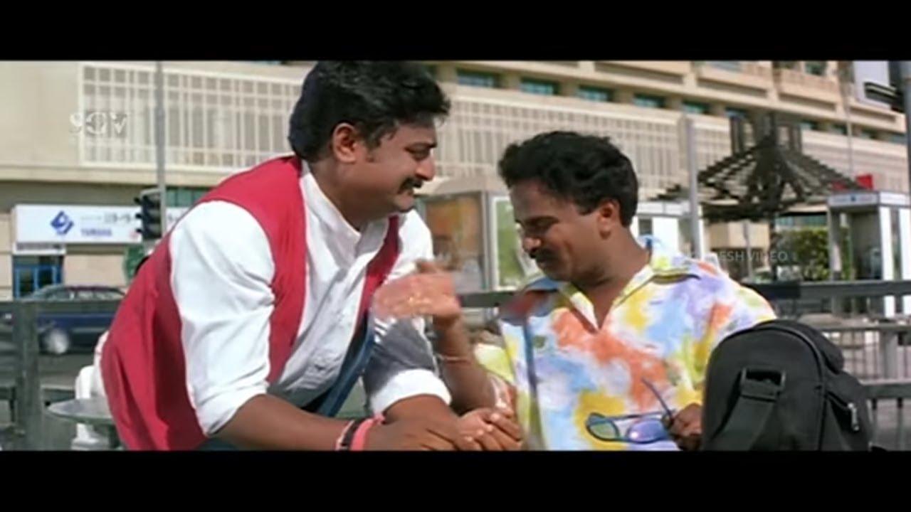 Komal Working in Dubai As a Waiter   Comedy Scene   Love Kannada Movie